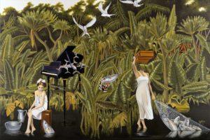 Artist DHOFFER Le Sucre des Santolines | Dominique Hoffer Surrealism Jungle Piano | Mickaël Marciano Art Gallery Place des Vosges