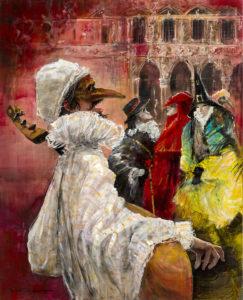Artist Marcel Pajot Chanteur Masqué | Peinture Venise Masque | Mickaël Marciano Art Gallery Place des Vosges