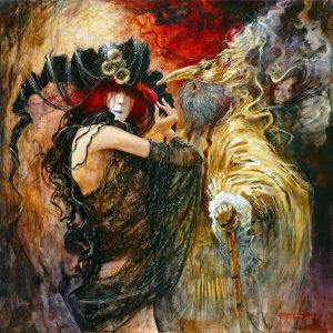 Artist Marcel Pajot Liane et le Phoenix | Peinture Venise Masque | Mickaël Marciano Art Gallery Paris