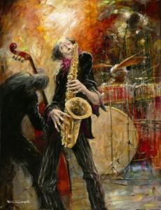 Artist Marcel Pajot Saxo | Peinture Venise Musique saxophone | Galerie Mickaël Marciano Art Place des Vosges