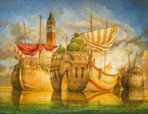 Artiste VAN KHACHE | Abordage saint Marc | Cute painting Bateaux boats Fantastique | Mickaël Marciano Art Gallery Place des Vosges
