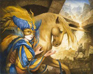 Artiste VAN KHACHE | Licorne et Centaure | masque Venise Onirique Rêverie | Mickaël Marciano Art Gallery Place des Vosges