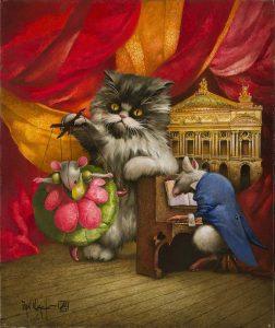 Artiste Van Khache | Pygmalion | grotesque cat chat Venise Onirique Rêverie Fantastique | Mickaël Marciano Art Gallery Place des Vosges