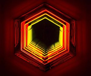 Falcone Artiste | Infinity Hexagones Neon | Mirror geometric optic | Galerie Mickaël Marciano Place des Vosges Paris