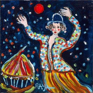 Raya Sorkine Le cirque | Chagall figurative painting | Artist Mickaël Marciano Art Gallery Place des Vosges