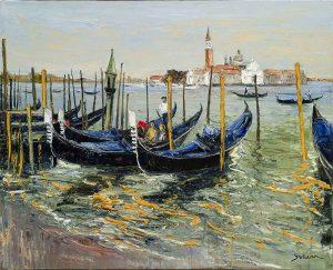 Jean-Paul Surin Les Gondoles de san Giorgio | Landscape Venise port | Mickaël Marciano Art Gallery Paris