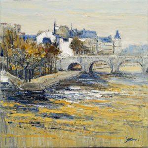 Jean-Paul Surin La seine au vert galant | Landscapes Paris | Galerie Mickaël Marciano Art contemporain Paris
