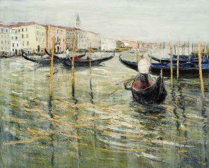Jean-Paul Surin Les Gondoliers du Grand Canal | Paysages Venise port | Galerie Mickaël Marciano Art Place des Vosges