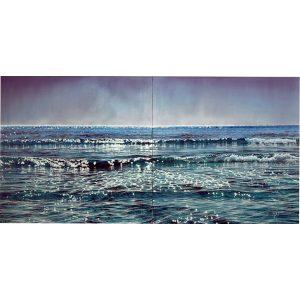 Artiste BERNAIR vagues Mer hyperréalisme bleu | Mickaël Marciano Art Gallery Paris