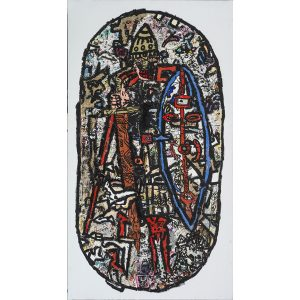 Robert Combas artist | Gardien Vicaire Viking Mordeur | figuration libre | Galerie Mickaël Marciano Place des Vosges Paris.