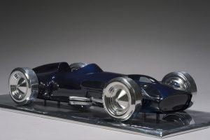 Antoine Dufilho Artist | Mercedes w196 bleue | polie sculpture voiture classic car | Galerie Mickaël Marciano Place des Vosges