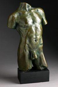 Jacques le Nantec Petit torse | Bronze homme torso | Artist Mickaël Marciano Art Gallery Paris