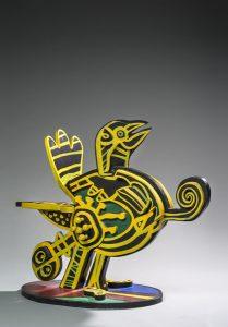 Artist Corneille Oiseau | Acrylic Sculpture COBRA yellow jaune | Mickaël Marciano Art Gallery Paris