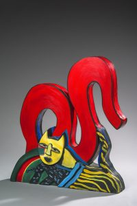 Artiste Corneille Chat | COBRA Bird Cat Acrylic Sculpture Painting Wood | Galerie Mickaël Marciano Art contemporain Paris