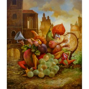 Artiste VAN KHACHE | Grappolo | oil on canvas grotesque personnages Peintre Peintures Tableaux Animaux Chats Venise Bateaux Femmes Légumes Fruits Onirique Rêverie Fantastique Musique