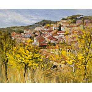 alt = Artiste Galerie Marciano Jean Paul Surin Paysage Landscape Mimosas