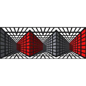 Vinzarth Artist | Rouge et Gris | anamorphose architecture géométrie | Galerie Mickaël Marciano Place des Vosges Paris.