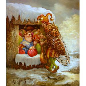 Artiste VAN KHACHE | La Cigale et la Fourmi | grotesque personnages surrealist Onirique | Galerie Mickaël Marciano Art Place des Vosges