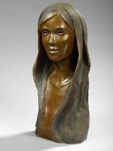 Brigitte Teman Artiste | Angela | bronze sculpture femme woman portrait | Mickaël Marciano Art Gallery Paris