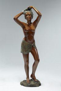 Brigitte Teman Artiste | Nausicaa | Bronze sculpture female nude standing woman | Mickaël Marciano Art Gallery Place des Vosges
