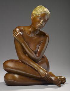 Brigitte Teman Artist | Agnieska | bronze sculpture femme nue | Galerie Mickaël Marciano Art contemporain Paris