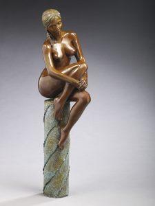 Brigitte Teman Artist | Coleen | bronze sculpture nude woman portrait | Galerie Mickaël Marciano Art Place des Vosges