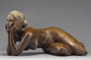 Brigitte Teman Artiste | Elisa |bronze sculpture femme female nude woman portrait | Mickaël Marciano Art Gallery Place des Vosges