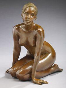 Brigitte Teman Artist | Eloise | bronze sculpture female nude woman portrait | Galerie Mickaël Marciano Art contemporain Paris