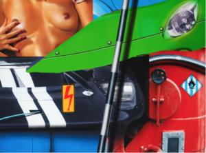 Peter Klasen artist | Green car Red machine | Galerie Mickaël Marciano Place des Vosges Paris.