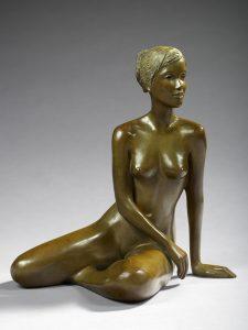 Brigitte Teman Artist | Léa | Bronze sculpture femme female nude woman portrait | Galerie Mickaël Marciano Art Place des Vosges