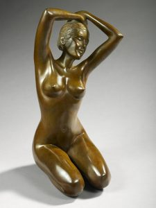 Brigitte Teman Artiste | Rachel |Bronze sculpture femme female nude woman portrait | Mickaël Marciano Art Gallery Paris