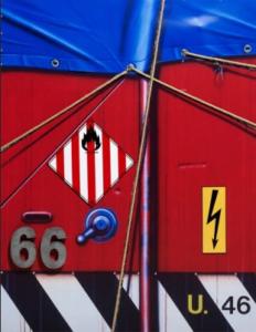 Peter Klasen artist | Bache bleue sur fond rouge | Galerie Mickaël Marciano Place des Vosges Paris.