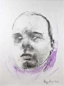 Artiste Philippe Pasque Aveugle | Portrait mixed media | Galerie Mickaël Marciano Art Place des Vosges