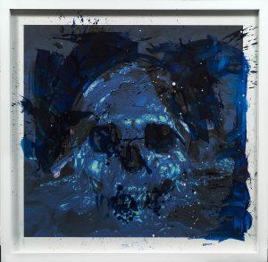 Artiste Philippe Pasqua Vanité | tete de mort bleu blue skull | Galerie Mickaël Marciano Art contemporain Paris