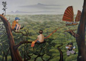 Artist DHOFFER L'insolente vertu du silence | Dominique Hoffer Surréalisme Jungle enfant horizon | Galerie Mickaël Marciano Art contemporain Paris