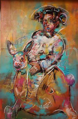 Arka artiste   Mon petit lapin et mon pyjama   Peinture   Expressionnisme contemporain   Art Contemporain figuratif   Couleur   Galerie d'art Mickael Marciano   Paris Place des Vosges