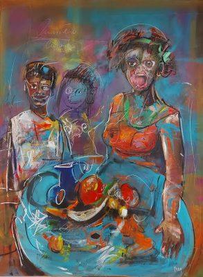 Arka artiste   à Table !   Peinture   Expressionnisme contemporain   Art Contemporain figuratif   Couleur   Galerie d'art Mickael Marciano   Paris Place des Vosges