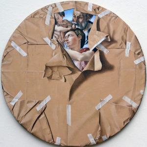 Artist Fabio Inverni |Furto d'artista n°1 | Hyperrealism Michelangelo round painting | Galerie Mickaël Marciano Place des Vosges Paris