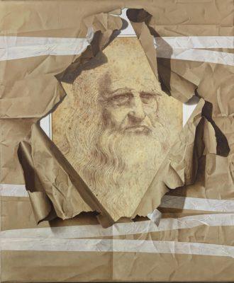 Fabio Inverni Artist | Omaggio al Genio | Leonardo Da Vinci Leonard Trompe l'oeil | Galerie Mickaël Marciano Place des Vosges Paris