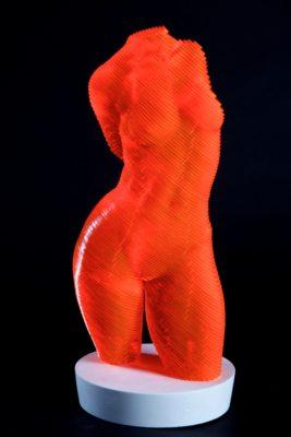 Olivier Duhamel Artist | Roxie | sculpteur résine lasercut nu orange femme | Galerie Mickaël Marciano Place des Vosges Paris