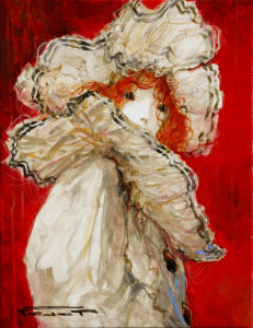 Artist Marcel Pajot Colombine Fond Rouge | Peinture Venise Masque | Galerie Mickaël Marciano Art contemporain Paris