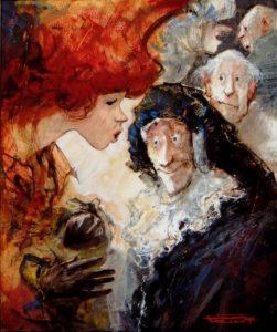 Artist Marcel Pajot Ecoute | Peinture Venise Masque | Galerie Mickaël Marciano Art Place des Vosges