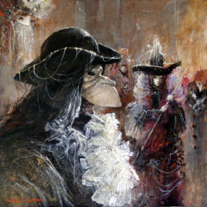 Artist Marcel Pajot La Bauta | Peinture Venise Masque | Mickaël Marciano Art Gallery Paris