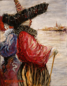 Artist Marcel Pajot Le Gouverneur | Peinture Venise Masque | Mickaël Marciano Art Gallery Place des Vosges