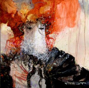 Artist Marcel Pajot Masque à la coiffe rouge | Peinture Venise Masque | Mickaël Marciano Art Gallery Paris