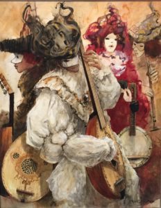 Artist Marcel Pajot Musiciens | Peinture Venise Masque | Galerie Mickaël Marciano Art contemporain Paris