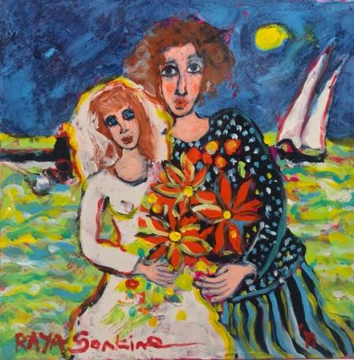 Raya Sorkine | Le rêve du Voilier | Chagall figurative painting | Artist Mickaël Marciano Art Gallery Place des Vosges