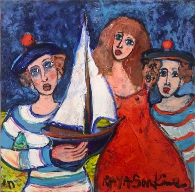 Raya Sorkine | Le Voilier blanc | Chagall figurative painting | Artist Mickaël Marciano Art Gallery Place des Vosges