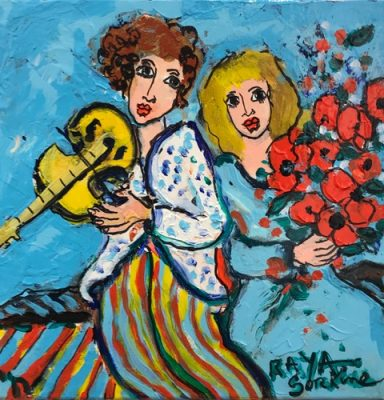 Raya Sorkine | Les amoureux | Chagall figurative painting | Artist Mickaël Marciano Art Gallery Place des Vosges