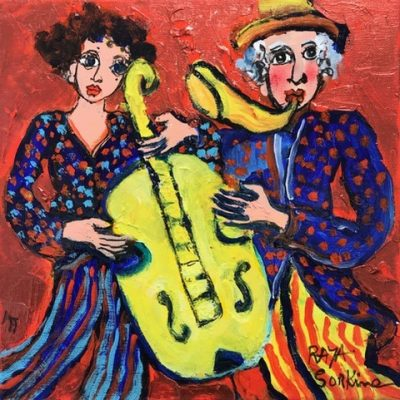 Raya Sorkine | Les copains musiciens | Chagall figurative painting | Artist Mickaël Marciano Art Gallery Place des Vosges